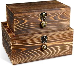 Wooden Box with Lock & Keys Wood Keepsake Boxes for Jewelry Watch Trinkets Treasure Chest Hobby Cash Gifts Cards Photos Cash Collection Decorative Rustic Wood Storage Box with Lid Fired Color Set of 2