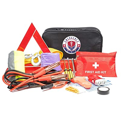 Roadside Assistance Emergency Car Kit - First Aid Kit, Jumper Cables, Tow Strap, led Flash Light, Rain Coat, Tire Pressure Gauge, Safety Vest and More Ideal Winter Accessory for your Car, Truck or SUV: Automotive