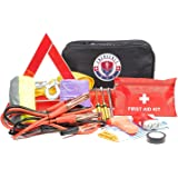 Roadside Assistance Car Emergency Kit - First Aid Kit, Jumper Cables, Tow Rope, LED Flash Light, Rain Coat, Tire Pressure Gauge, Safety Vest & More Ideal Winter Accessory for Your Car, Truck Or SUV