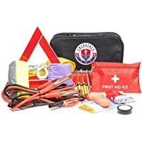 Roadside Assistance Emergency Car Kit - First Aid Kit, Jumper Cables, Tow Strap, led Flash Light,…