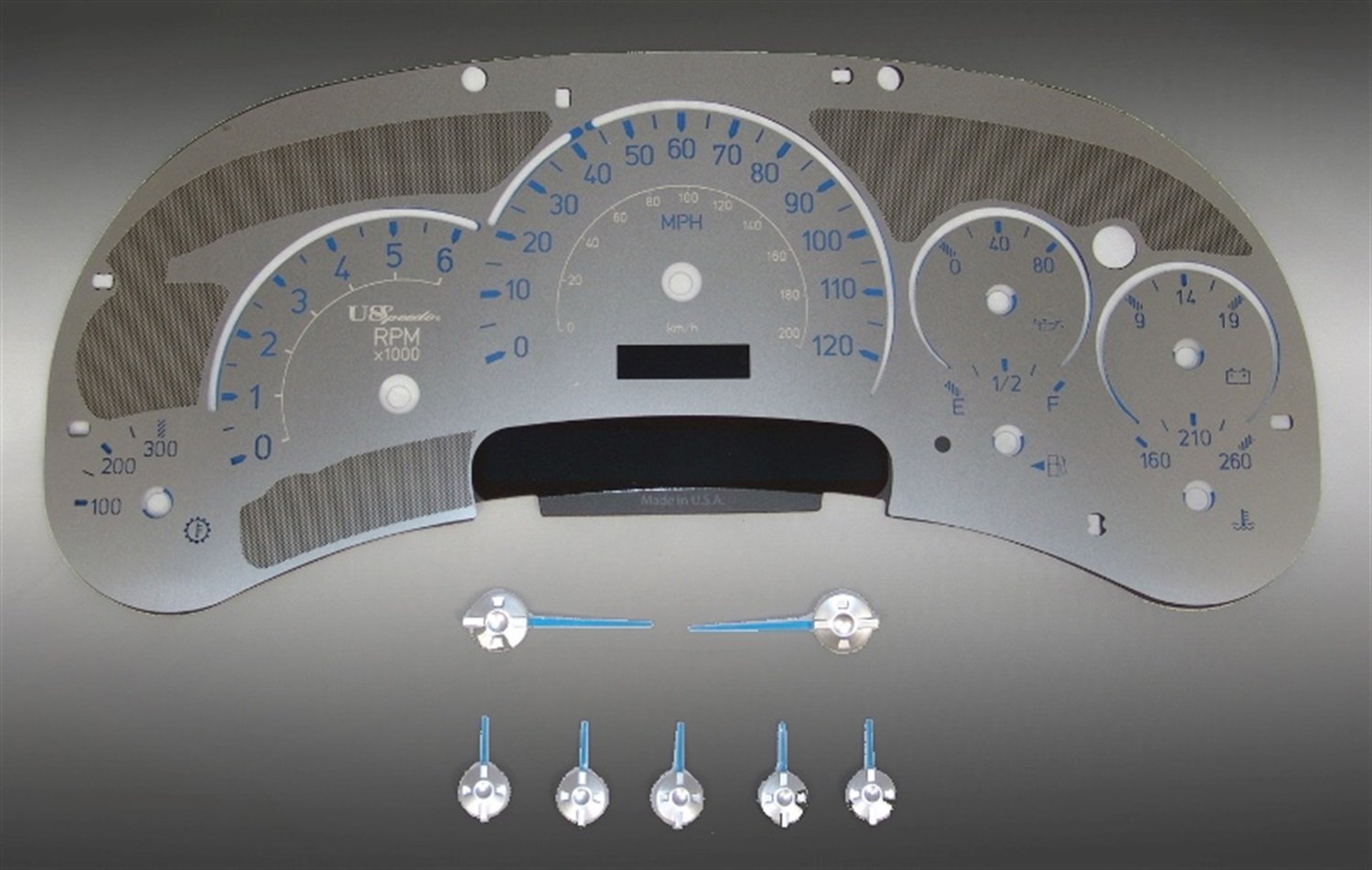 US Speedo SS H2 01B - Stainless Steel With Blue Numbers - 120 MPH Trans Temp - for: Hummer H2 All Models