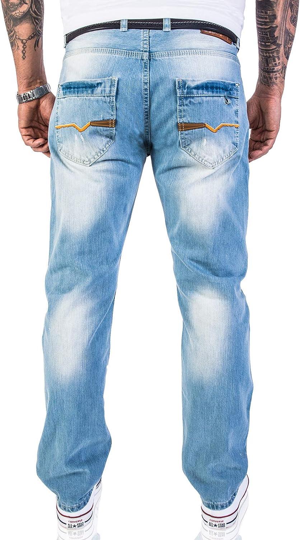 Rock Creek Vaqueros de diseñador para hombre, aspecto desgastado, RC-2063 azul claro 40W x 38L