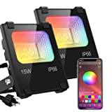 LED Flood Lights RGB Color Changing 100W Equivalent Outdoor, 15W Bluetooth Smart RGB Floodlight APP Control, IP66 Waterproof, Timing, 2700K&16 Million Colors 20 Modes for Garden Stage Lighting 2 Pack (Color: 2 Pack)