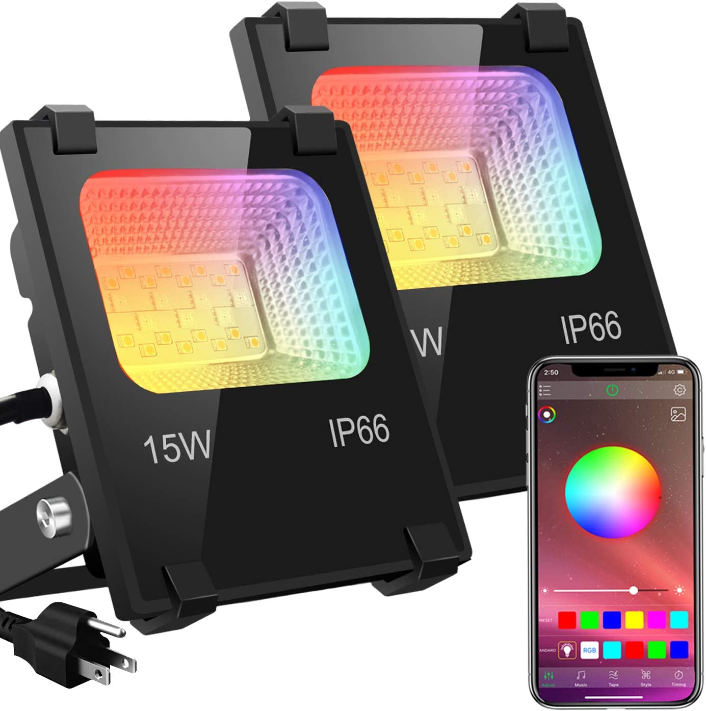LED Flood Lights RGB Outdoor, 15W Bluetooth RGB Color Changing Floodlight APP Control Lighting, IP66 Waterproof, 2700K & 16 Million Colors 20 Modes for Landscape Garden Stage Lighting (2 Pack)