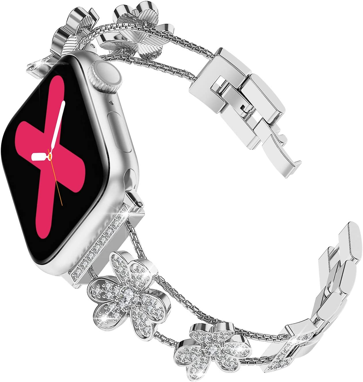 Ritastar Rhinestone Bracelet for Apple Watch Band Stainless Steel Women,Girly Dressy Wristband Jewelry Strap with Fashion Bling Czech Diamonds,Adjustable Metal Buckle for 40mm 38mm Series 6,5,4,3,2,1