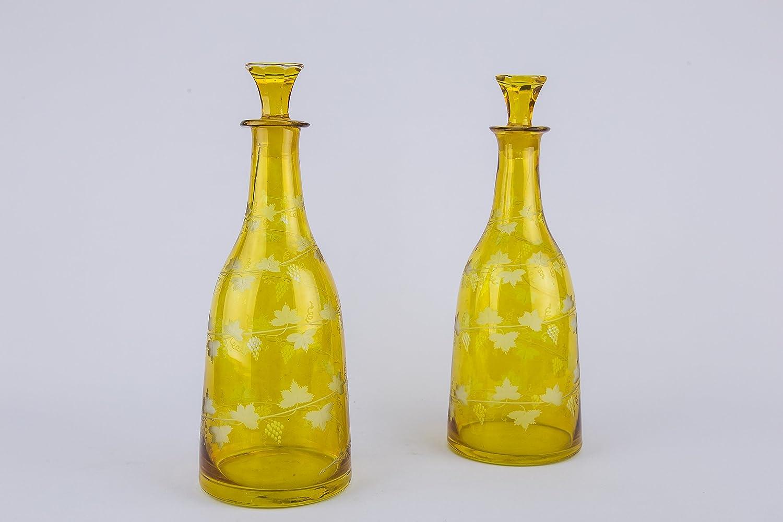 2 Cónicos botellas de vino decantador de cristal tallado amarillo uvas puerto Sherry jarra grabado Victoriano Antiguo 19th siglo LS: Amazon.es: Hogar