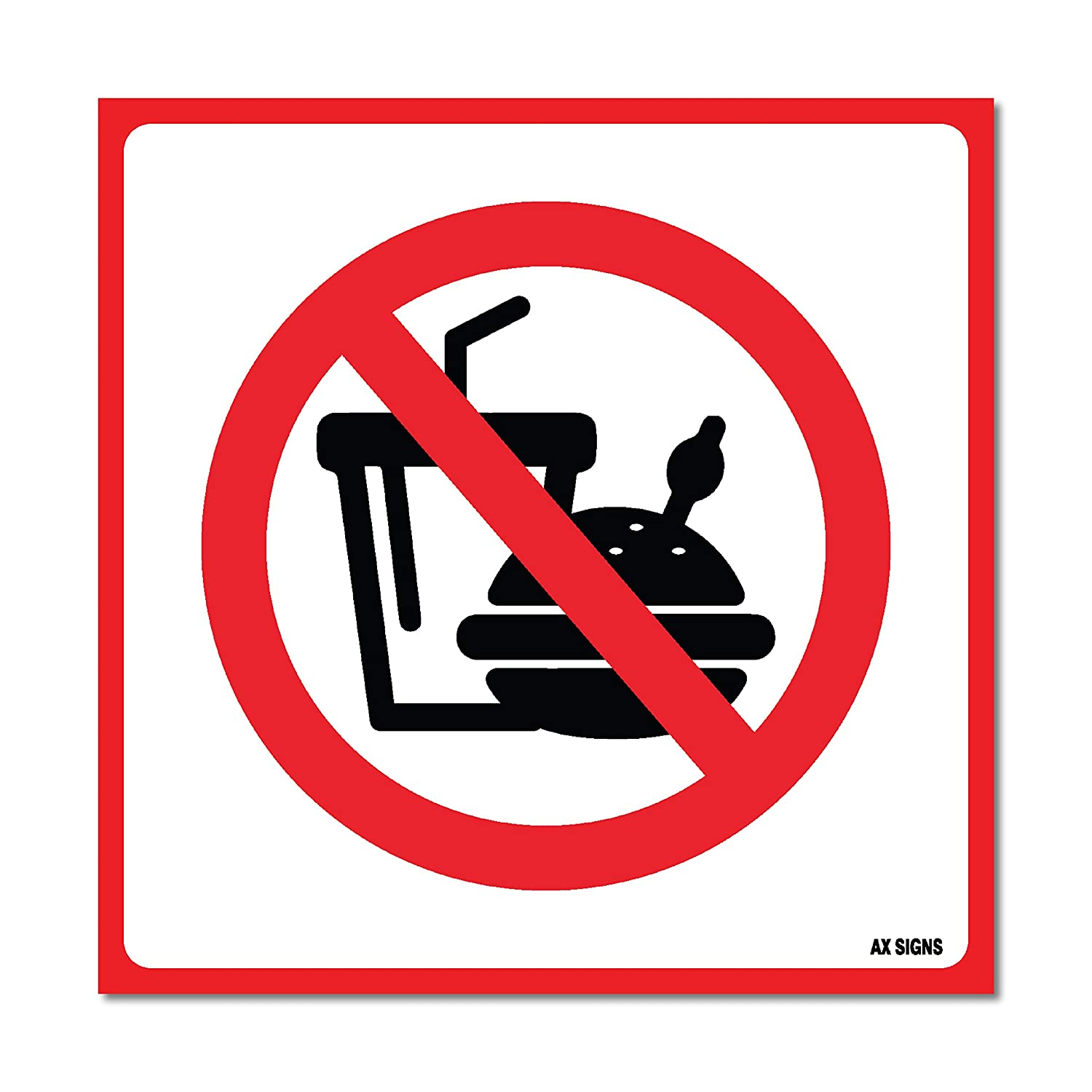 (4 Pack) No Food or Drinks Allowed Sign Self Adhesive