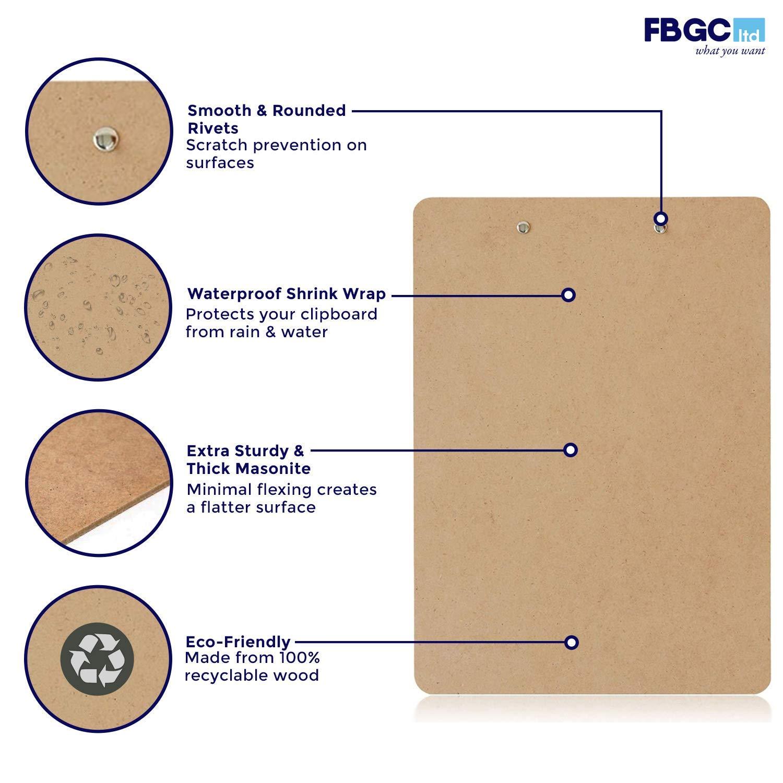 Portadocumenti A4 Eco-Friendly Pacco da 6 Cartella Portadocumenti in Legno Perfetta per l/'Ufficio Porta Documenti con Molla Robusta e Gancio da Appendere FBGC Cartella Portadocumenti A4