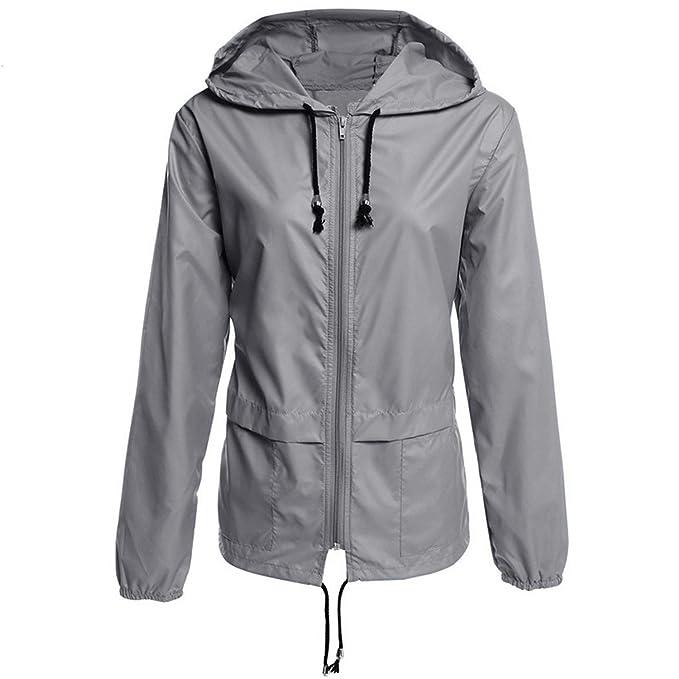 xiaohuihuihui Women Windbreaker Spring Summer Outwear Hoodies Jacket Packable Waterproof Raincoat Sporting Jackets Basic Coat at Amazon Womens Clothing ...