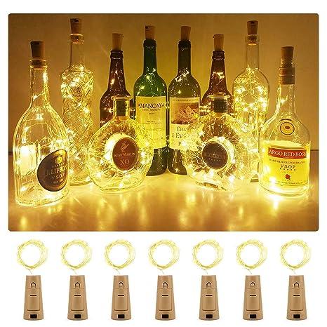 Luz Led Botella ,Luces Led Para Botellas, Luz de Bricolaje Flexible y Seguro Para , 20 LED Corcho Micro Luces para Entorno Romántico en Boda Fiestas ...