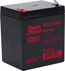 Interstate Batteries Power Patrol 12V 5Ah Fire & Security Battery (SLA) Sealed Lead Acid Rechargeable Battery (AGM) F1 .187 Faston Spade Terminals (FAS1055)