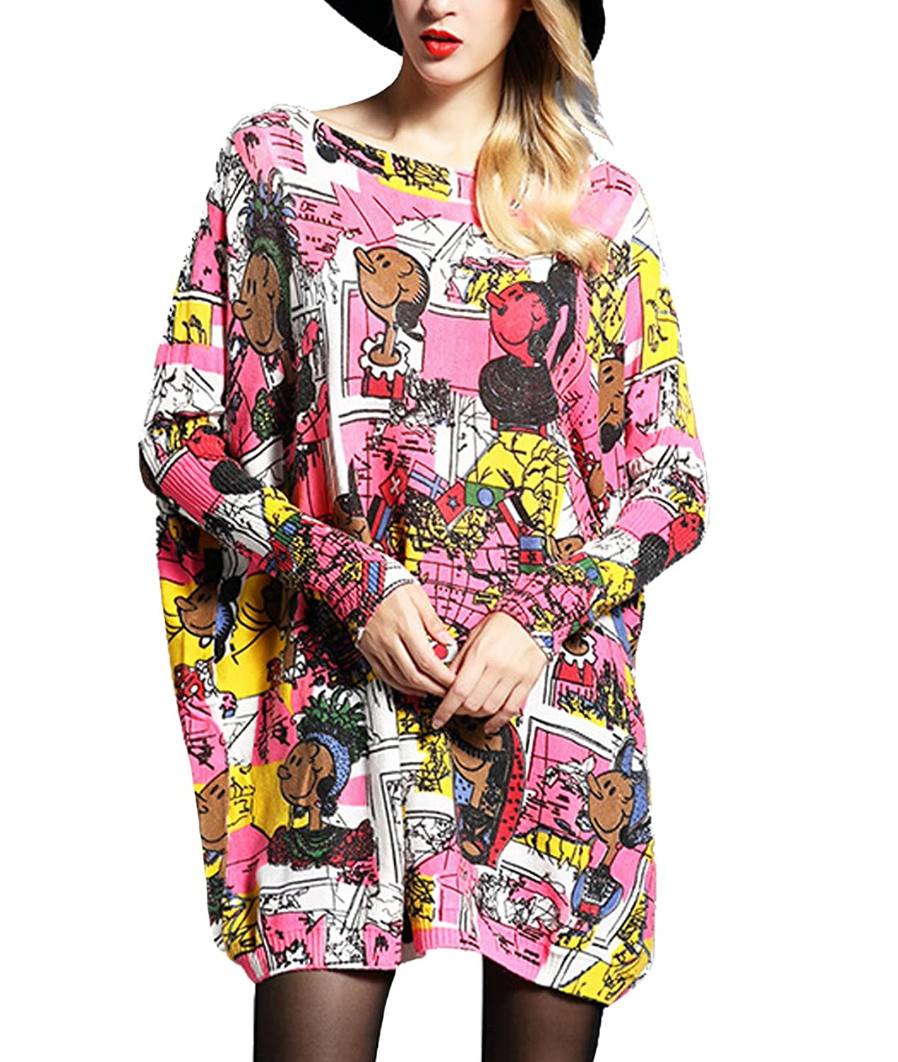 Femirah Women's Cartoon Print Knitted Pullover Sweater Dress One Size