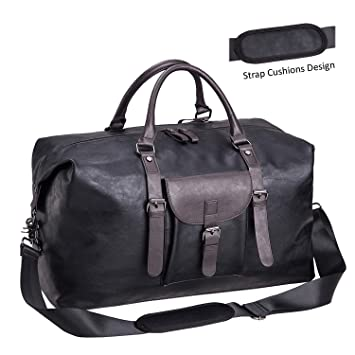 Oversized Leather Travel Duffel Bag Black,Weekender Overnight Bag  Waterproof Leather Large Carry On Bag edab02bc15c61