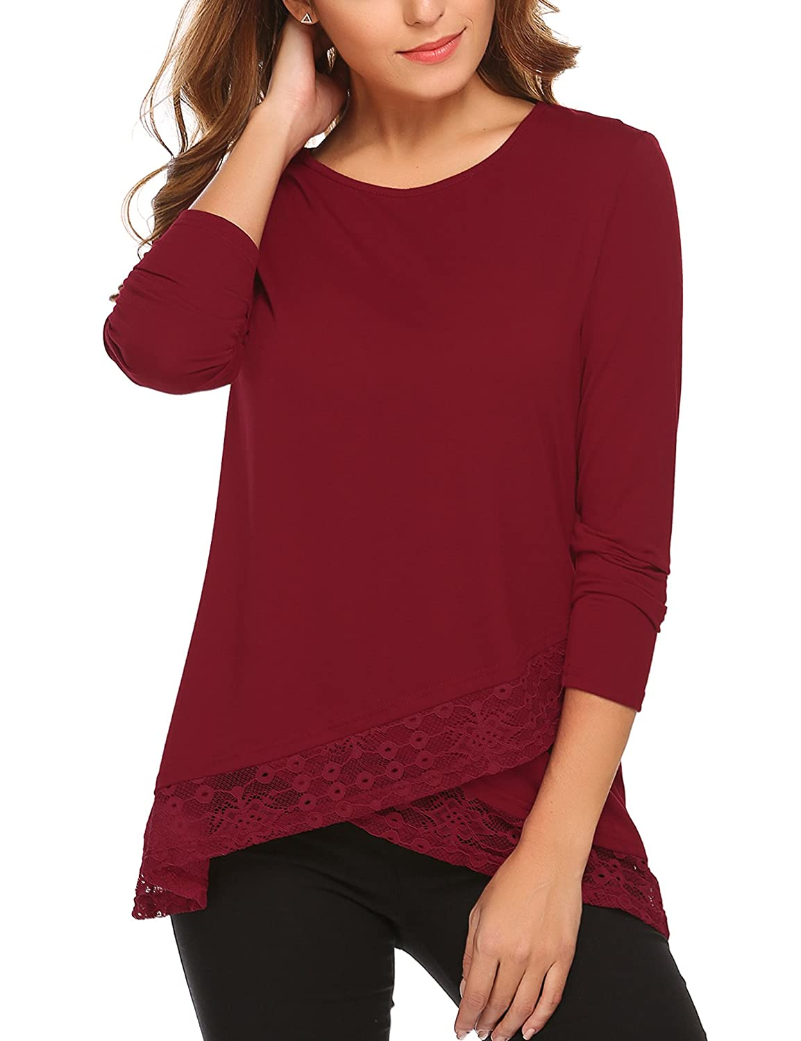 32fe9eb3a14ee Features Long sleeve tunic with stylish lace stitching asymmetrical  hem lace v-neck cutout back. Perfect tunic to wear over your leggings and  skinny ...