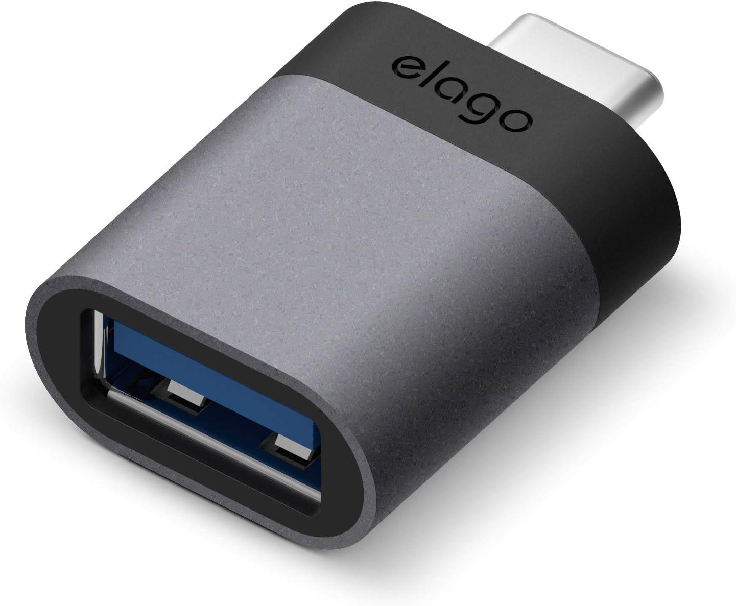 elago Mini Adaptador de Aluminio USB-C a USB 3.0 Hembra Compatible con MacBook Pro 2018/2017, MacBook Air 2018 y Otros Dispositivos con USB C [Exacto Coincidencia de Color con MacBook] - Gris Espacial