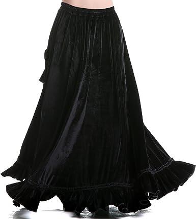 crazyinlove Mujer Falda larga de terciopelo negro Large: Amazon.es ...