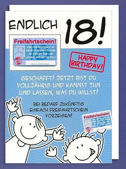 Giant Greeting Card Happy Birthday Finally 18 Freifahrtschein A4 Amazoncouk Kitchen Home