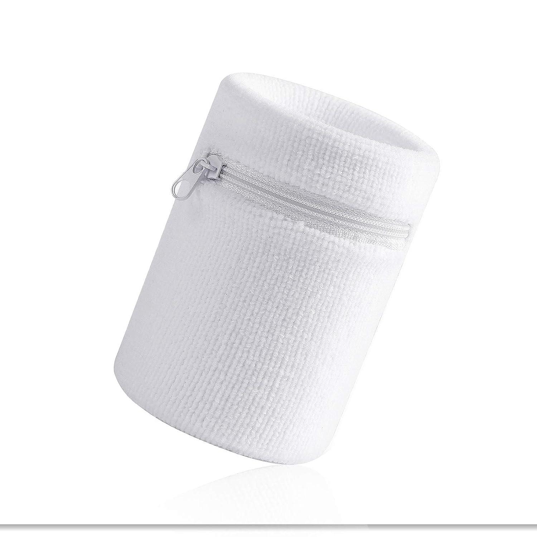 HOTER スポーツ用厚手単色リストバンド ファスナー/リストウォレット付き、 2個1セット B07H5FGQJJ Z-White