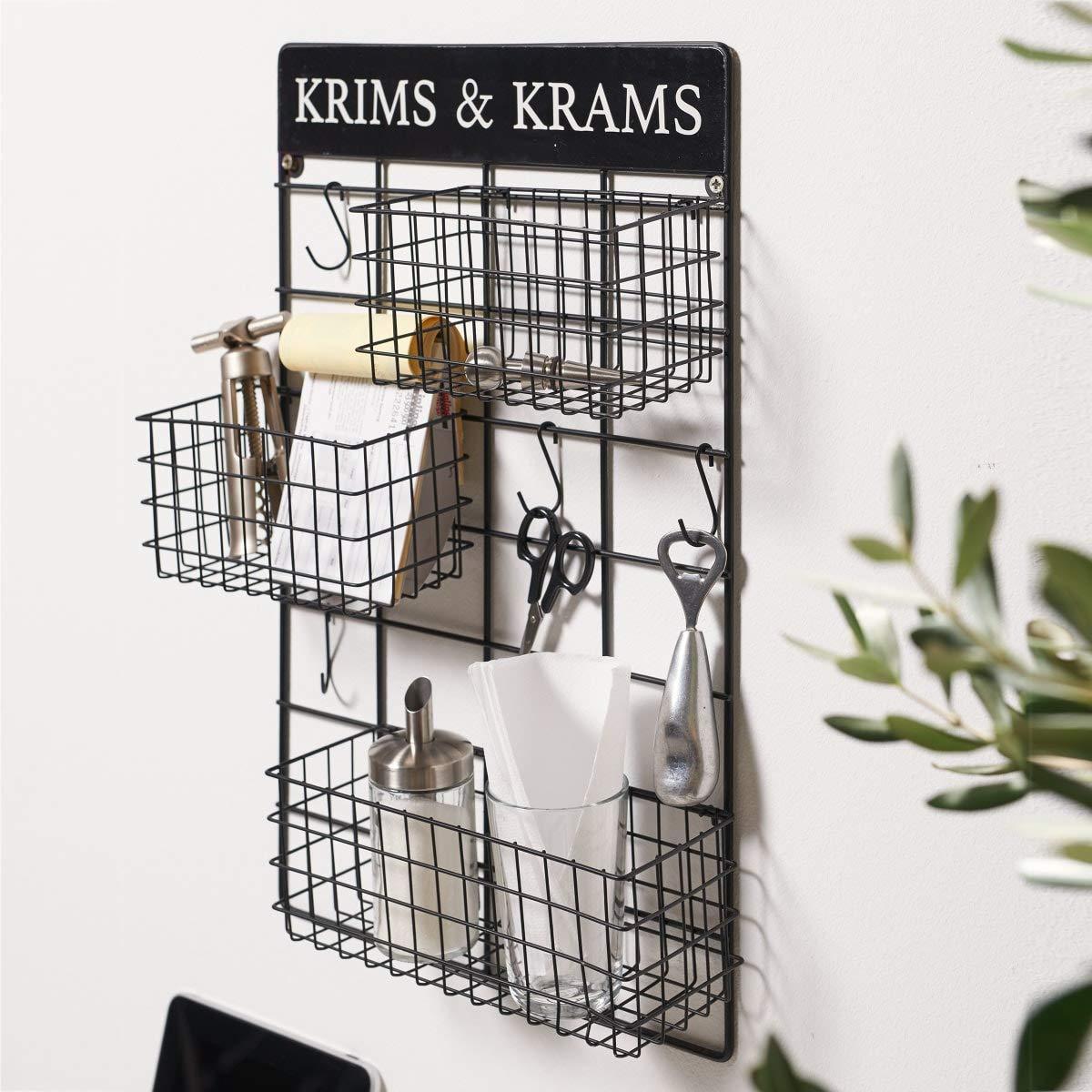 Schwarz Metall H/ängeregal im Industrial Loft Style Pureday Wandregal Krims /& Krams