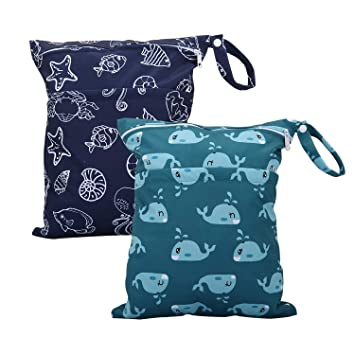 ALVABABY Cloth Diapers Wet Bags 2pcs Travel Wet and Dry Waterproof Reusable with Two Zippered Pockets