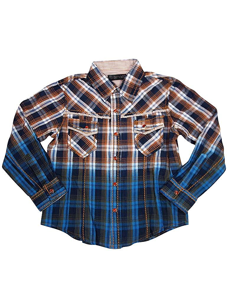 Smash Little Boys Long Sleeve Western Inspired Shirt 14 Color Combinations
