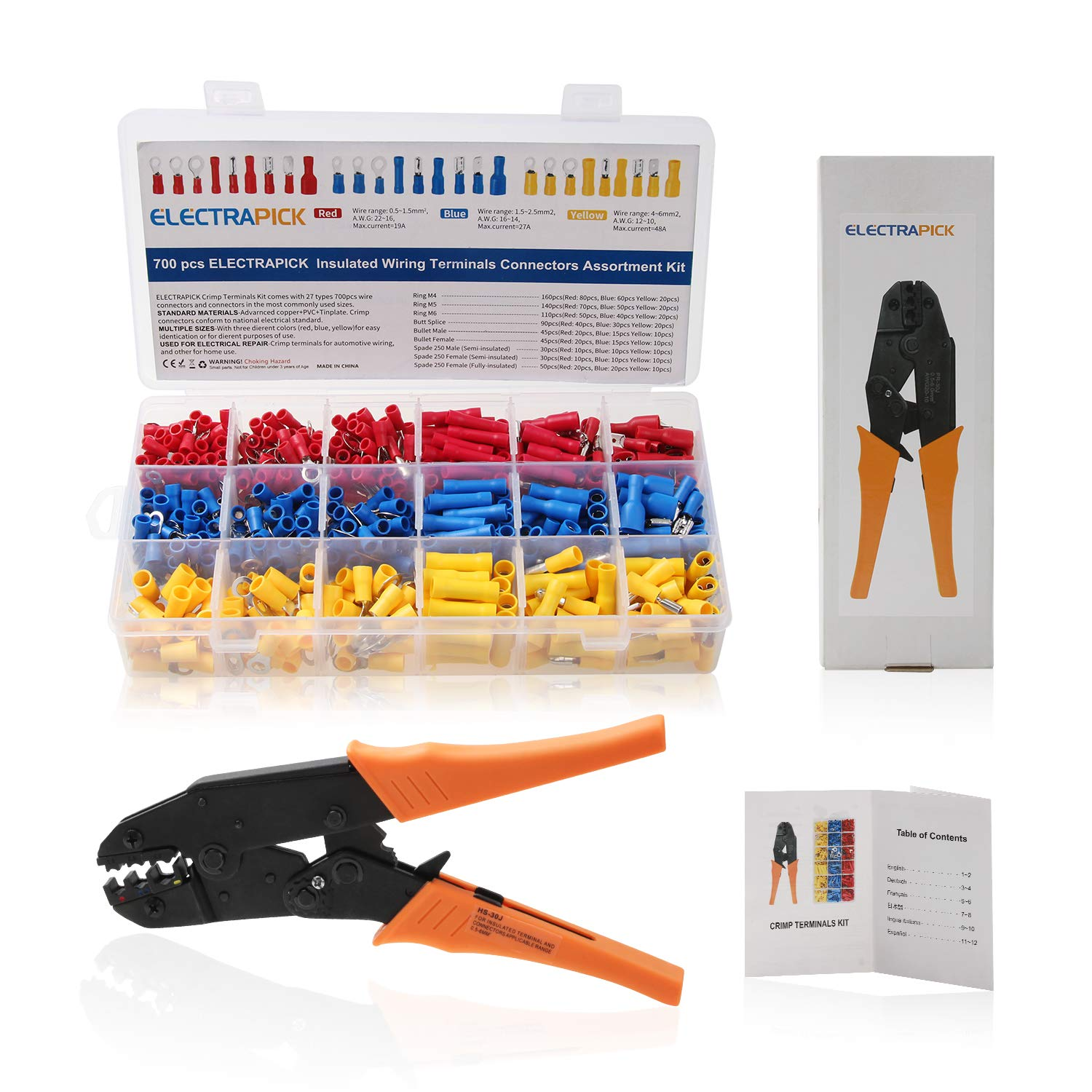 Insulated Terminal Crimping Tools, CHISTAR Professional Self-adjustable Ratchet Wire Crimpers with 700pcs Wire Electrical Connectors Assortment - Butt, Ring, Spade, Quick Disconnect for AWG22-10