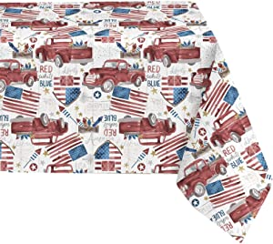 Newbridge Patriotic Truck Red, White and Blue Vinyl Flannel Backed Tablecloth, American Celebration Flags and Fireworks Theme Waterproof Tablecloth, 70 Inch Round