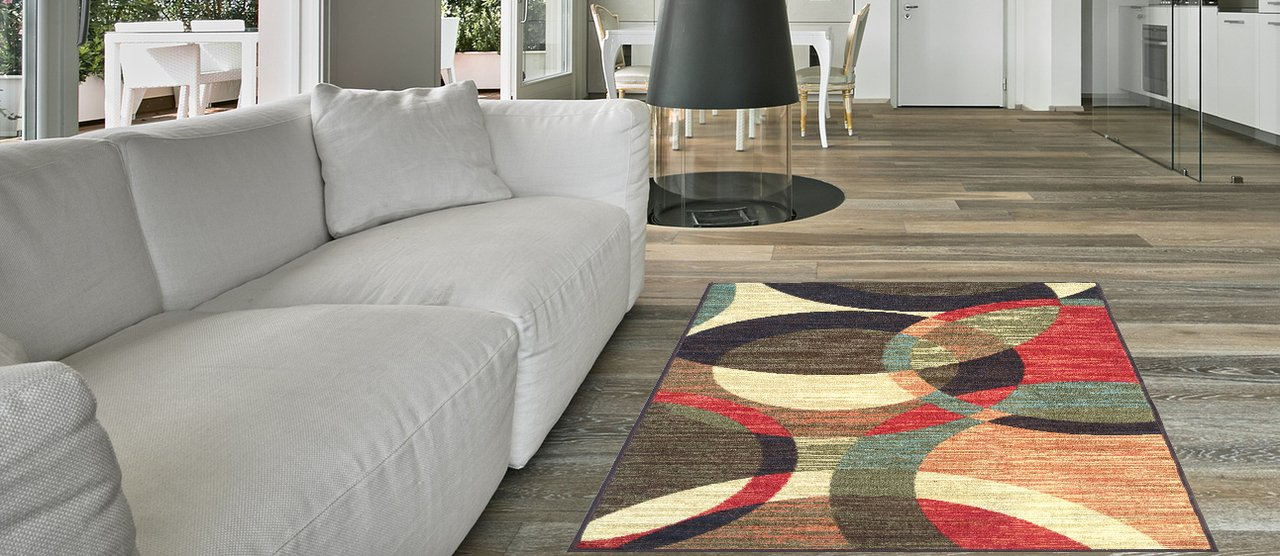 Maxy Home Hamam Contemporary Circles Multicolor 1 ft. 8 in. x 4 ft. 11 in. Rubber Backed Runner Rug