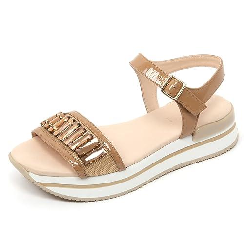 B7610 sandalo donna HOGAN H257 scarpa beige scuro gioiello shoe sandal woman