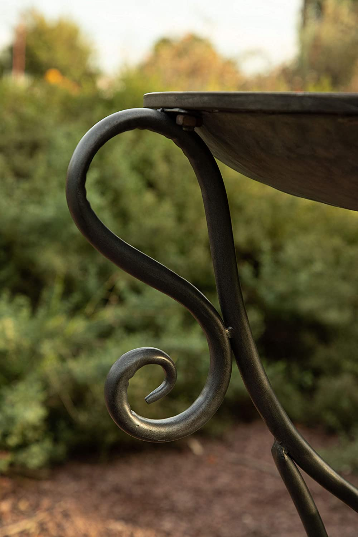 Iron Outdoor Decor for Garden Deck Porch Alpine Corporation Vintage Metal Birdbath with Twigs and Bird Figurines Patio