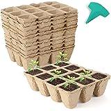 GROWNEER 24 Packs Peat Pots Seed Starter Trays, 288 Cells Biodegradable Seedling Pots Germination Trays, Organic Plant Starte