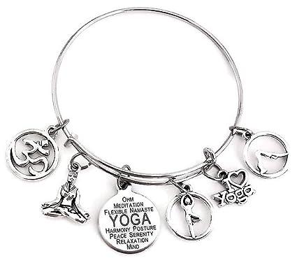 Amazon.com: Yoga pulsera, Yoga joyería, I Love Yoga pulsera ...