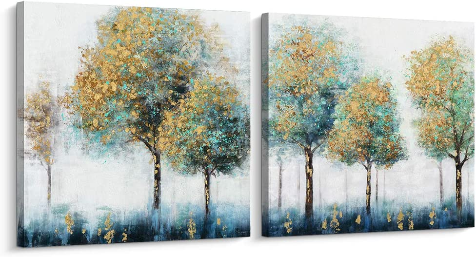 Pigort Shining Gold and Green Trees Painting Canvas Wall Art Gold Foil Embellished Landscape Wall Decor for Living Room Bedroom Office (32x32 inch, SET)