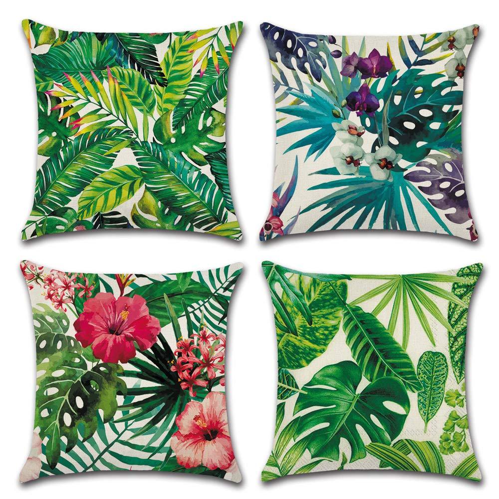 Aipark 4 Pcs 45 x 45 cm G/éom/étrique Taies dOreillers D/écoratives Housses de Coussin Color/é en Coton et Lin pour Canap/és Lits Chaises Chambres