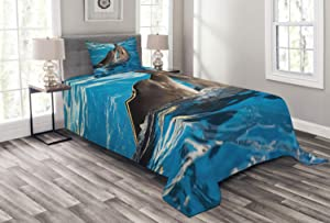 Ambesonne Dolphin Bedspread, Aqua Show Pair of Dolphins Dancing in The Pool Animal Family Tenderness Love, Decorative Quilted 2 Piece Coverlet Set with Pillow Sham, Twin Size, Blue Grey