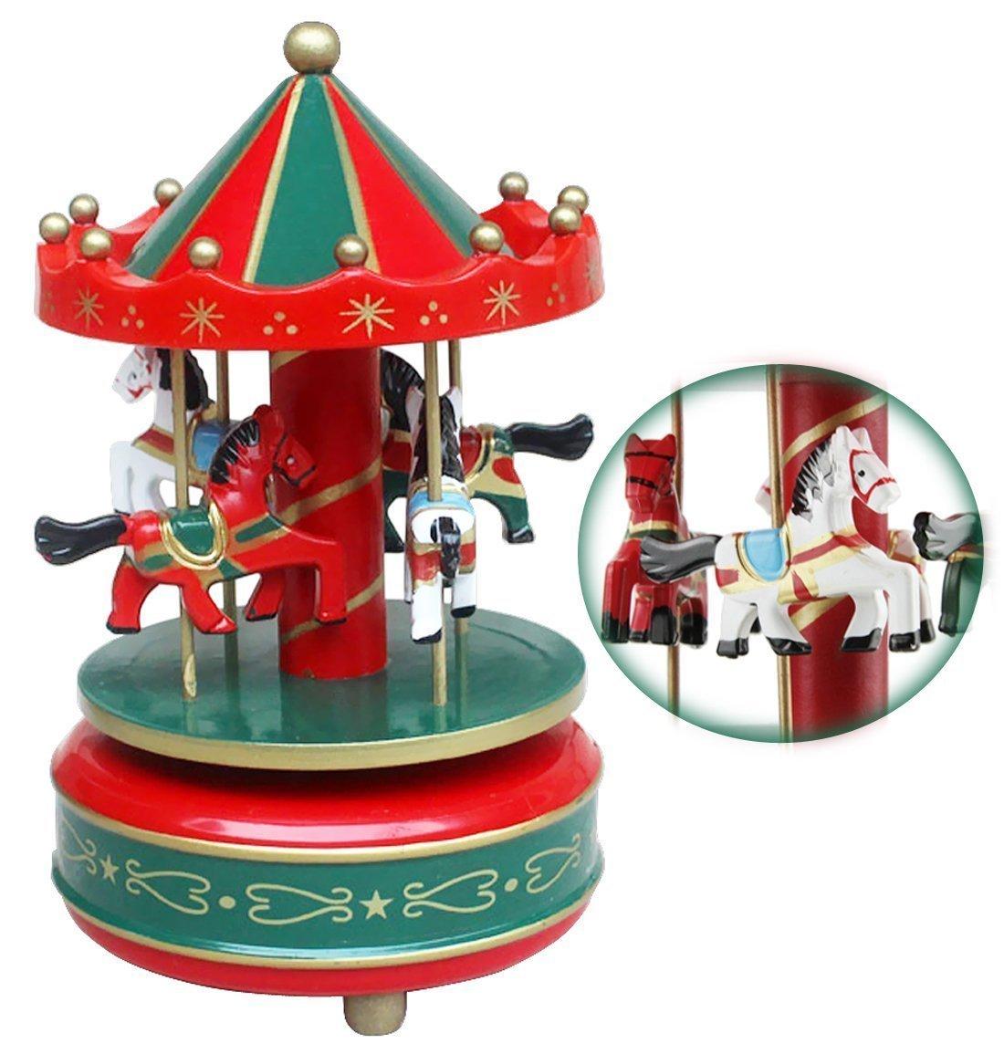 Manège Carrouselen Bois Boîte à Musique Enfants Filles Jouet Musical avec Mélodie Douce Décoration Maison Chambre Enfant Cadeau Noël/ Anniversaire pour Enfants Bao Core