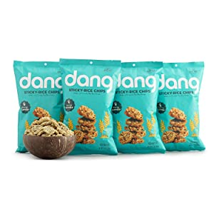 DANG Sticky Rice Chips   Savory Seaweed   4 Pack   Vegan, Gluten Free Rice Crisps, Healthy Snacks Made With Whole Foods  , 3.5 Ounce (Pack of 4) (PP-GRCE45610)