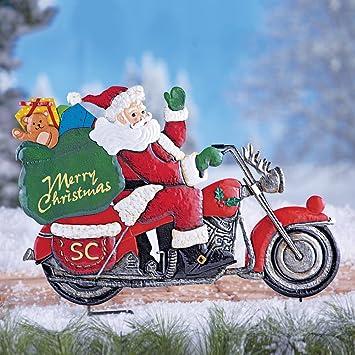 Amazon.com : Santa Clause Riding Motorcycle Bike Sleigh w/ Gift ...