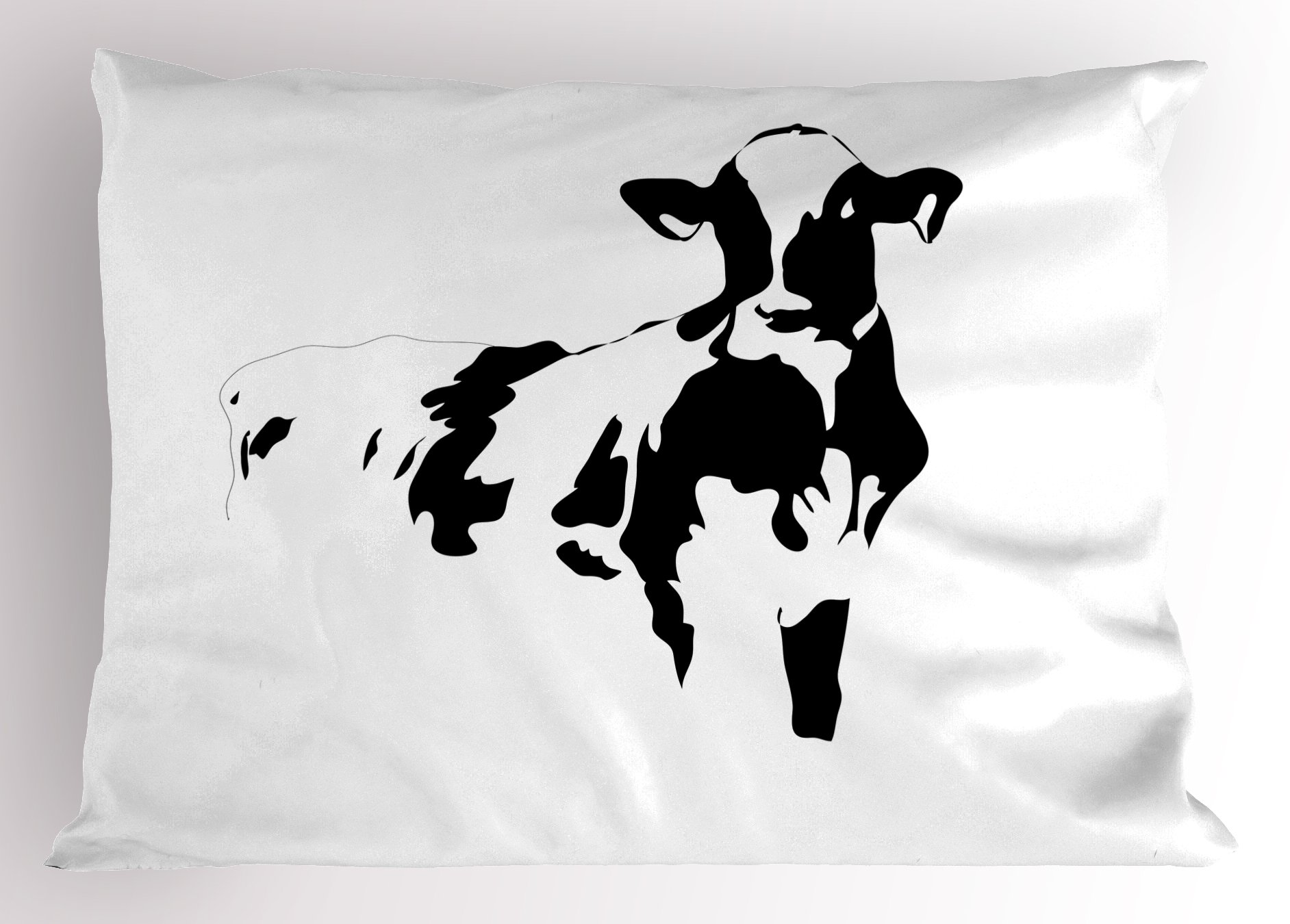 Lunarable Rustic Pillow Sham, Silhouette Portrait of a Cow Meat Milk Farm Animals Agriculture Themed Illustration, Decorative Standard Queen Size Printed Pillowcase, 30 X 20 Inches, Black White