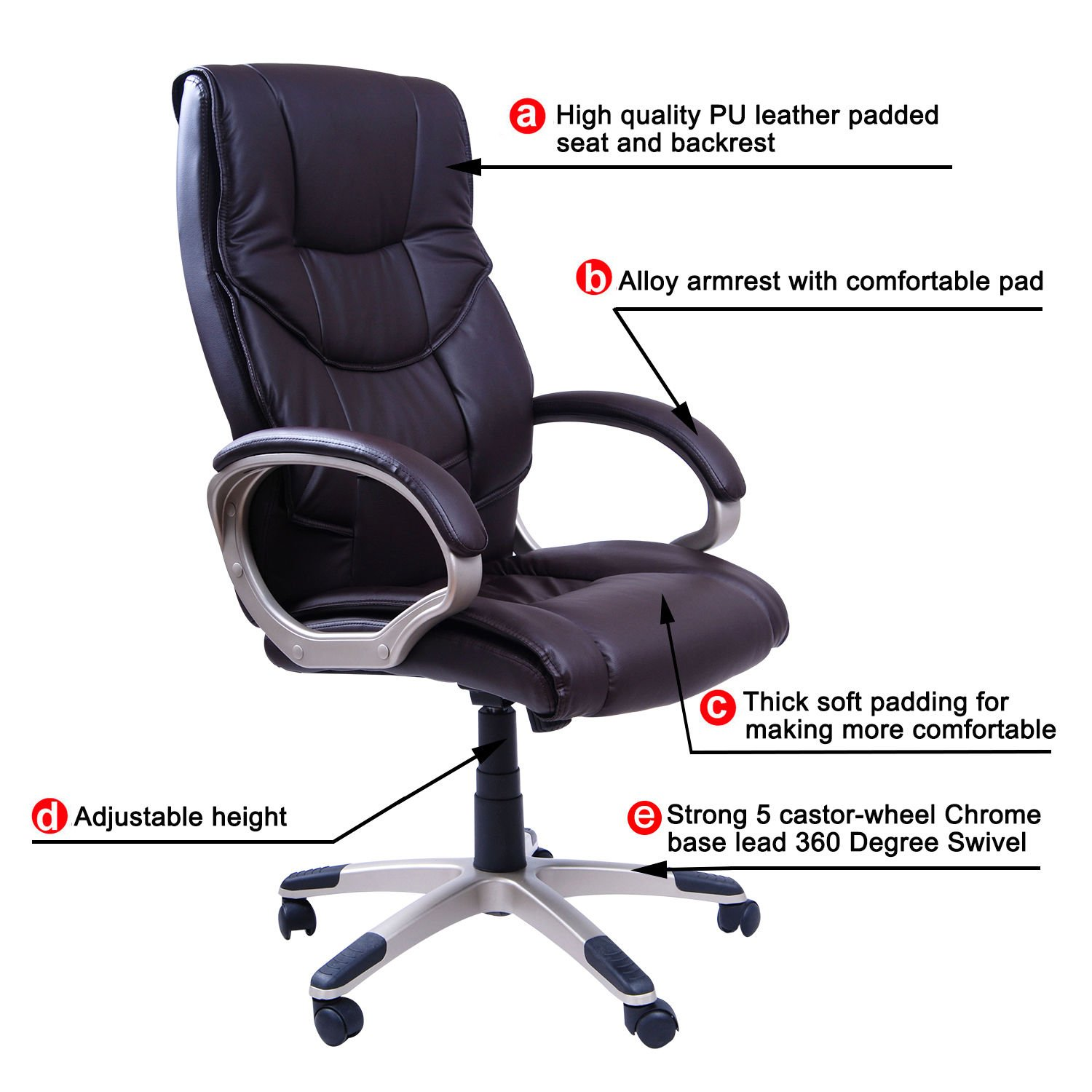Hom High Back Executive fice Chair With Arms PU Leather