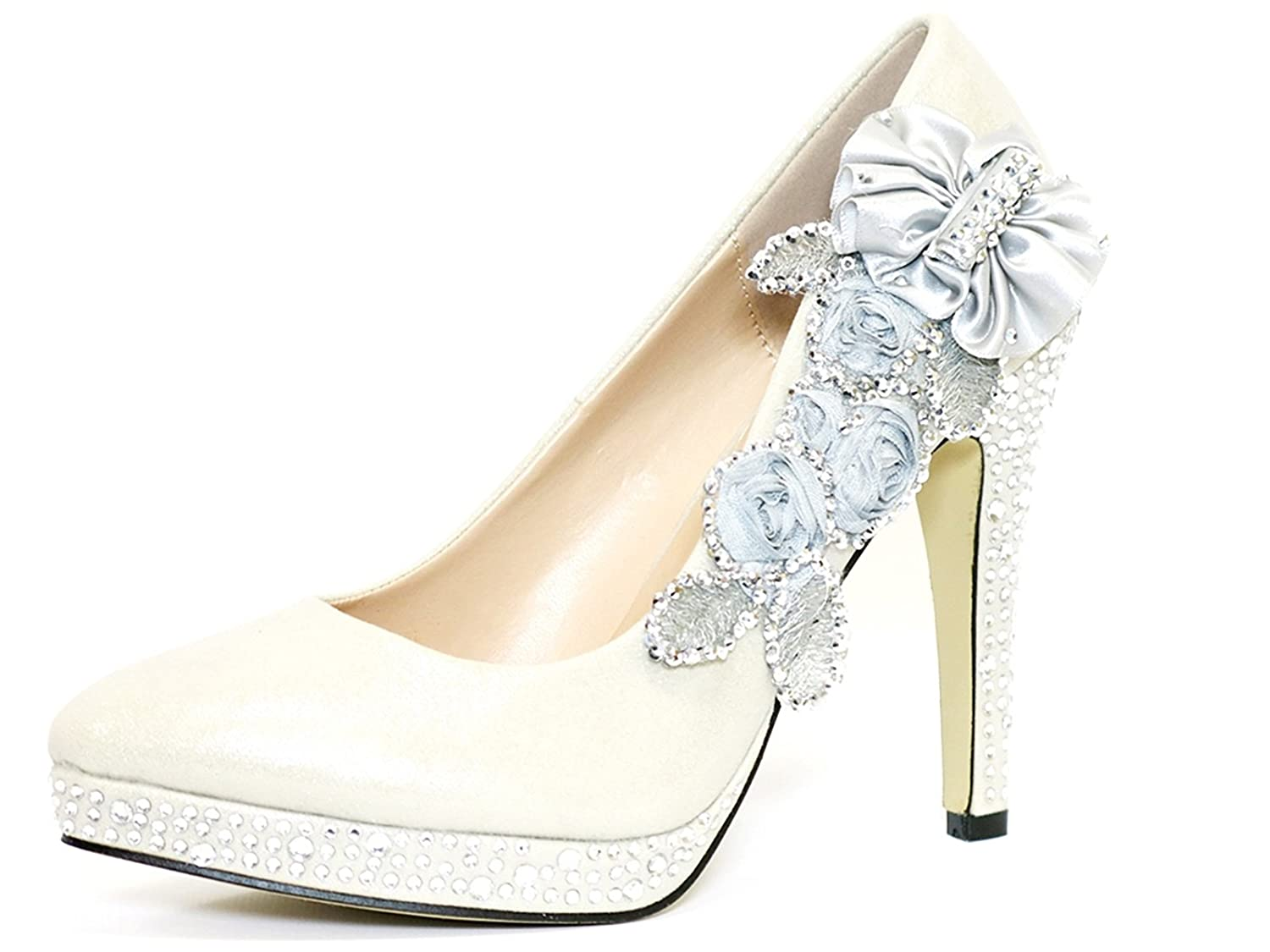 a3972dd7a11d Ktc Women s Glitter Gorgeous Crystal Wedding High Heel Shoes  Amazon.co.uk   Shoes   Bags