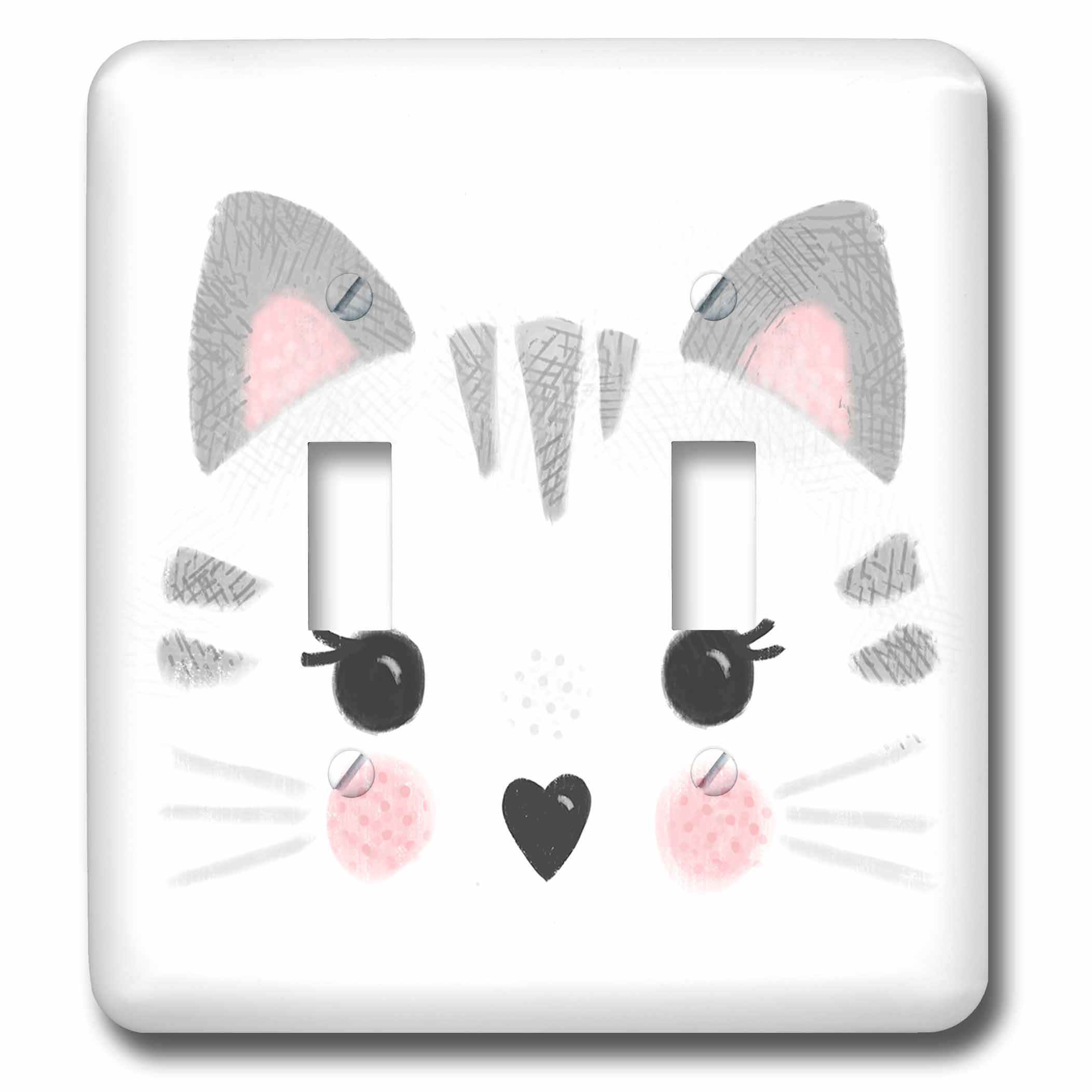 3dRose LSP_281735_2 Cute Tabby cat face in Gray and Pink Toggle Switch