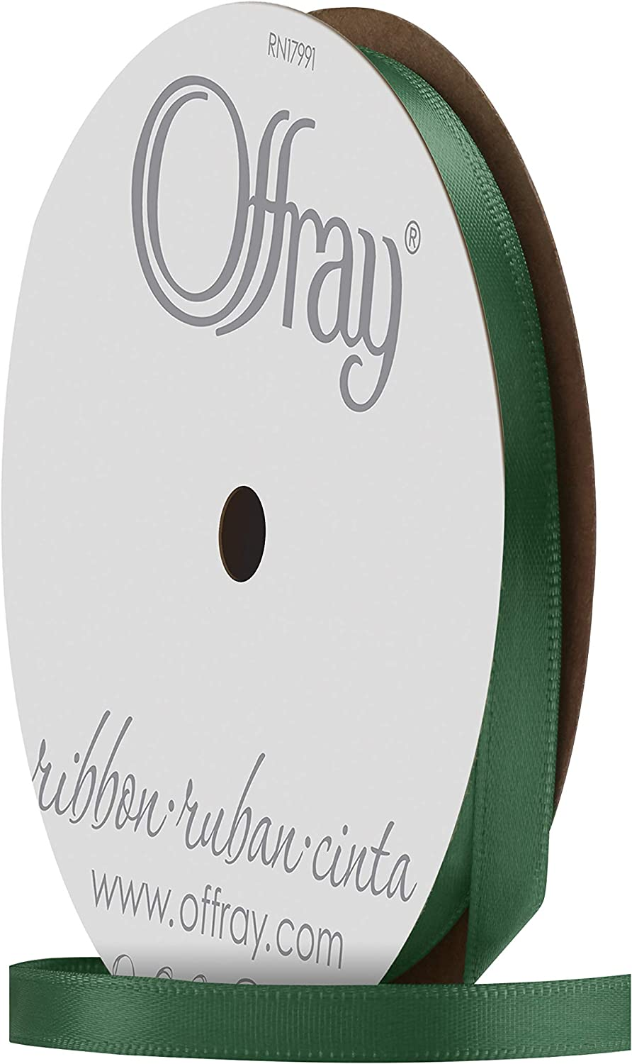 Offray Single Face Satin Craft Ribbon 1//4-Inch by 20-Yard Spool Antique White