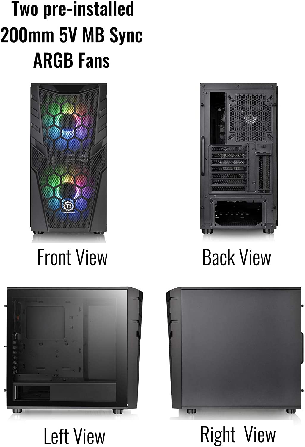 1 120mm Rear Black Fan Pre-Installed CA-1N6-00M1WN-00 Thermaltake Commander C35 Motherboard Sync ARGB ATX Mid Tower Computer Chassis with 2 200mm ARGB 5V Motherboard Sync RGB Front Fans