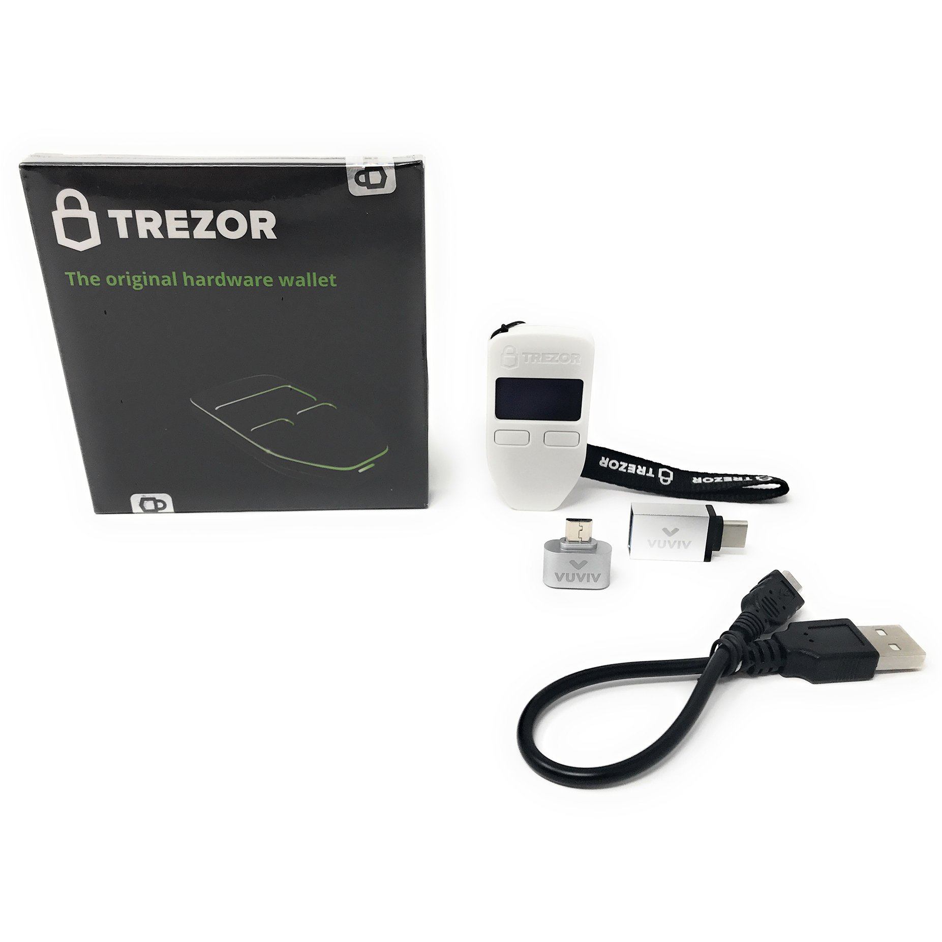 Trezor (White) Bitcoin Hardware Wallet Bundle With VUVIV Micro-USB Adapter and USB-C Adapter for MacBook (3 items) by VUVIV