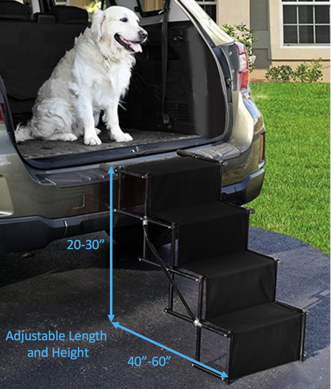 Dog Car Accordion Folding Stairs - Metal Frame Collapsible Pet Ramp with Four Steps - Lightweight, Portable, Adjustable Ramp Ladder for Car, SUV, Truck, Couch, Bed (4 Step, Black) by Golden Coast Unlimited