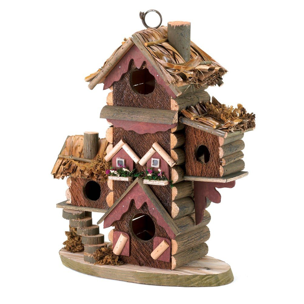 Multi-unit Log Cabin Birdhouse