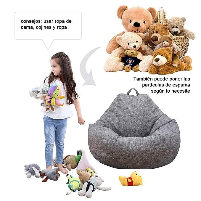 Iraza Puff Funda de Bean Bag 70x80cm,Kit de Sillónes de Hinchables de Adulto Infantil,Piel Sintetica,Color Gris, para Sala Dormir (70x80cm)