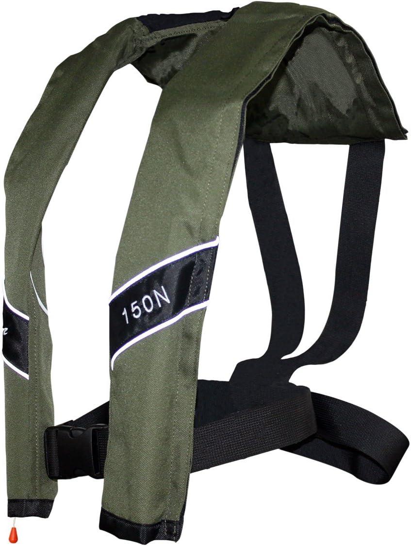 プロフェッショナル PFD 自動膨張式ライフジャケットベスト 150N 大人用 (オリーブ)