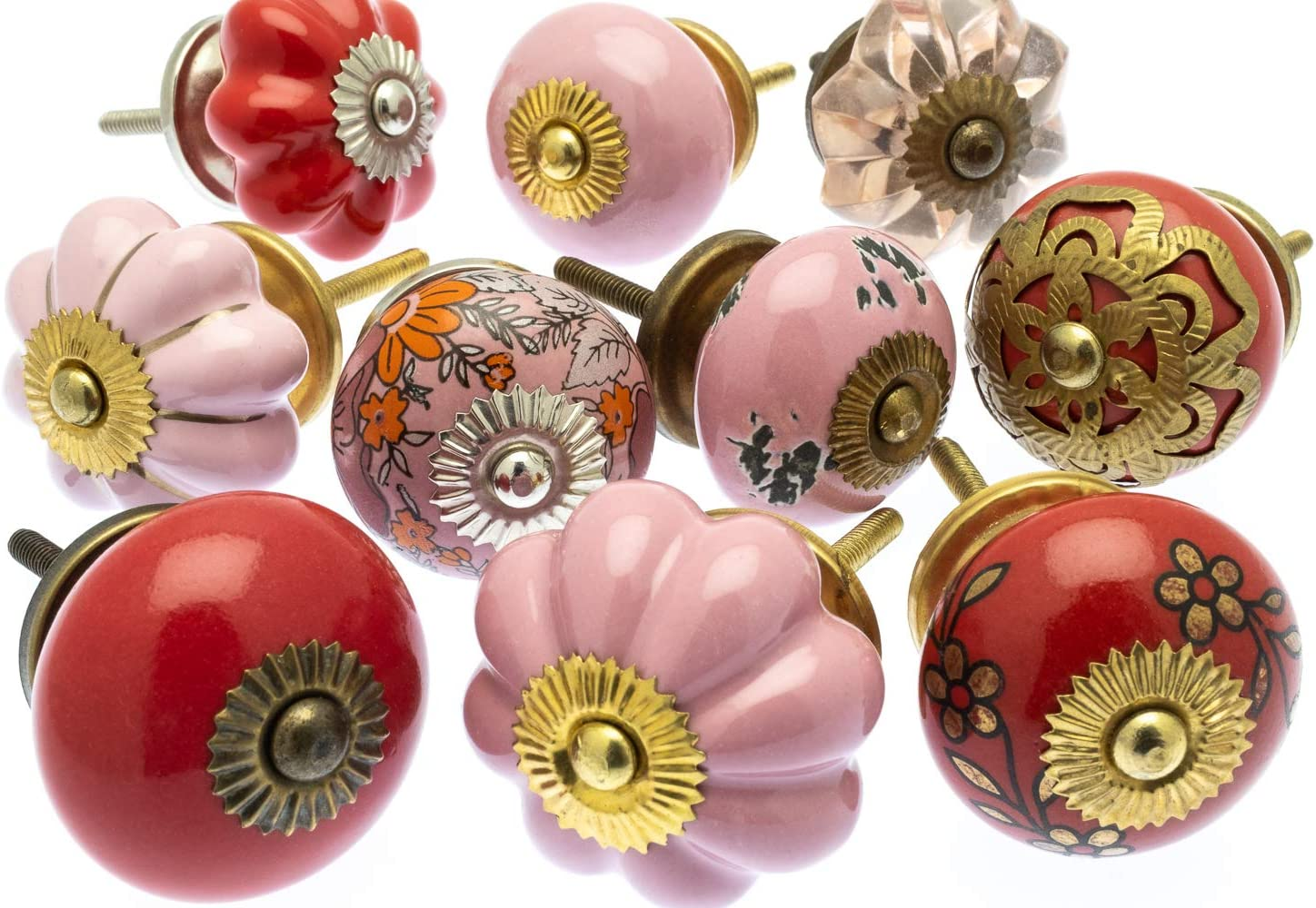 MG-752 Set of Ceramic /& Glass Cupboard Knobs in Dramatic Reds /& Pinks x Pack 10 Mango Tree